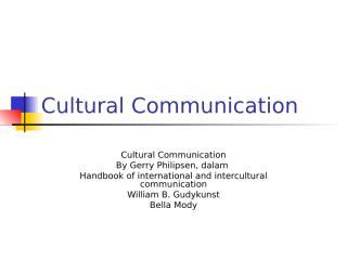 Cultural Communication--For CS.ppt